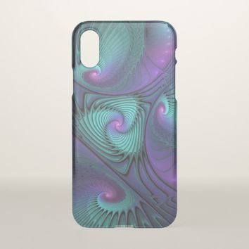 Purple meets Turquoise modern abstract Fractal Art iPhone X Case