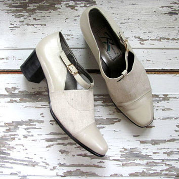 vintage 90s off white leather shoes // chunky heel shoes / women's size 9 W