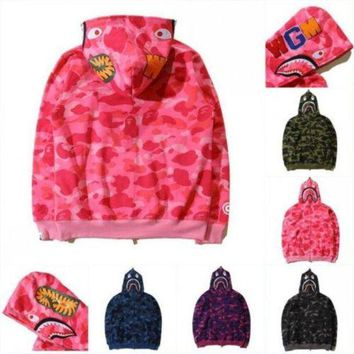 DCCKIJ2 BAPE Men's Shark Camo Full Zipper Hoodie