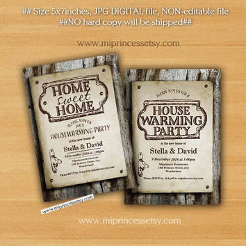 housewarming invitation, New house home sweet home Invitation Card WOOD design We have moved Invitation Card Design - card 329