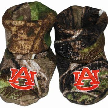 Auburn Tigers Camo Camouflage Style Newborn Baby Booties Made in USA New