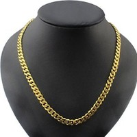 Sankuwen Fashion MEN Stainless Steel Gold Curb Link Chain Necklace