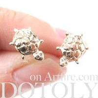Turtle Tortoise Sea Animal Small Stud Earrings in Rose Gold