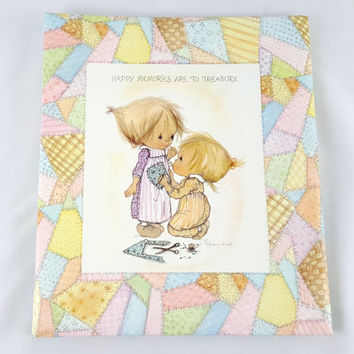 "Vintage Betsey Clark Scrapbook Photo Album 1972 Hallmark Happy ""Memories Are To Treasures"" Little Girls Patchwork Scrapbook"