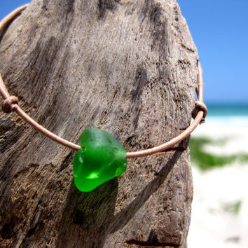 Hawaiian Emerald Green Beach Glass on India Leather Cord Completely Adjustable & Stackable Bracelet
