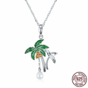 Genuine 925 Sterling Silver Coconut Palm Tree Pendant Necklace