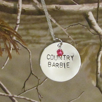 Country Barbie Necklace --Hand Stamped Jewelry -- Country Girl Necklace
