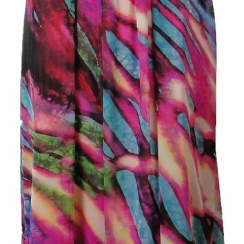 Betsy & Adam Long Chiffon Print Dress Pink Multi Gown