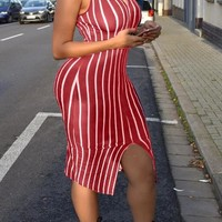 Burgundy Striped Cut Out Slit Band Collar Bodycon Midi Dress