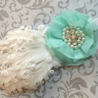Nagorie Curled Feather Newborn Baby Headband with Flower, Pearls, and Rhinestones