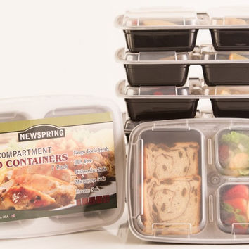 Made in USA, 3 Compartment Reusable Food Storage Containers , Microwave and Dishwasher Safe, Bento Box, Set of 7