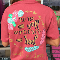 "Simply Southern ""It Is Well With My Soul"" Tee - Rust"