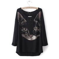Black cat pattern printing casual clothes JCGB