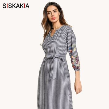 Siskakia Casual dresses Spring women stripe Embroidery maxi long dress with slim belt Vintage Middle East Arab robes