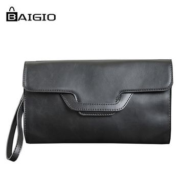 Baigio 2017 Men Clutches Bag Women Handbag Crazy Horse Leather PU Vintage Style Envelope Messenger Bag Black Coffee Designer Bag