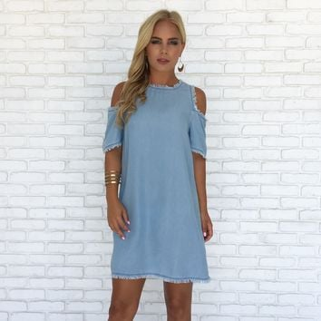 Blue Skies Shift Dress in Light Blue