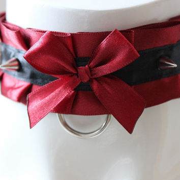 Kitten play collar - Thorned wine - BDSM proof gothic choker with spikes - black & red - ddlg dark goth princess sexy satin daddy kink gear
