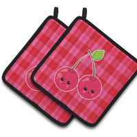 Cherry Faces Pair of Pot Holders BB6985PTHD