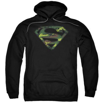 Superman - Distressed Camo Shield Adult Pull Over Hoodie