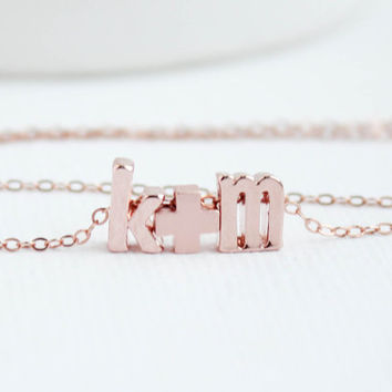 Lowercase Letter,Love necklace, Rose Gold Necklace, Couples necklace, Initial Necklace, Rose Gold Necklace