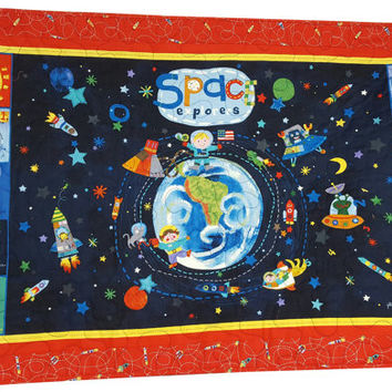 Space and Planets Educational Quilt for Wall or Play Gift for Child or Teacher