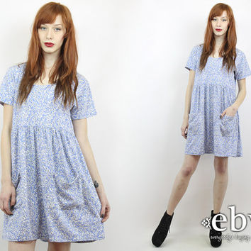 Vintage 90s Soft Grunge Dress S M L Floral Babydoll Dress 90s Floral Dress Summer Dress Blue Floral Dress Floral Mini Dress Blue Dress