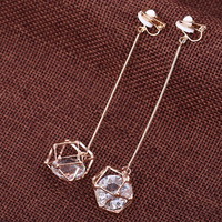 3.54'' Long fashionable hollow out zircon no ear pierced ear clip crystal non pierced earrings long largos