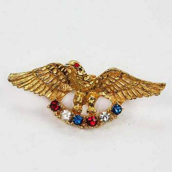 Patriotic Eagle Pin Red White and Blue Rhinestones Gold Tone USA Vintage Brooch