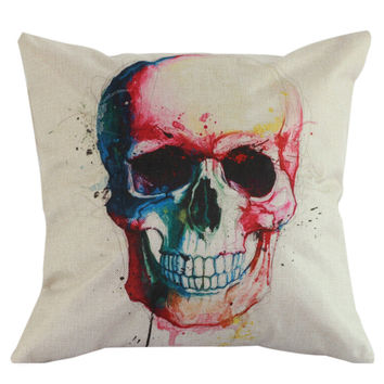 New Cotton Linen Skull Throw Pillow Case Cover Back Seat Waist Cushion Home Bones Pillowcases Pillow Cover For Bed Room