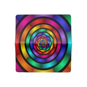 Round and Psychedelic Colorful Modern Fractal Art Checkbook Cover