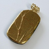 Fused Glass Pendant With Tree Branch Texture, Gold Filled Wire Wrapped