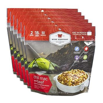 Wise Outdoor Chili Mac with Beef Camping Food - Pack of 6