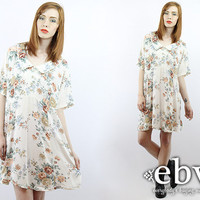 Vintage 90s Grunge Dress 1X 2X Floral Babydoll Dress White Dress Summer Dress Floral Dress 90s Dress Plus Size Dress Plus Size Vintage