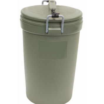 32-Gallon Plastic Garbage Can Durable Weather Resistant Trash Bin Olive Finish