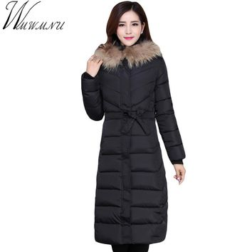 Wmwmnu 2017 Women Coat Jacket long Woman Parka With A Rabbit Fur Winter Thick hooded Coat Women plus size New Winter ls615
