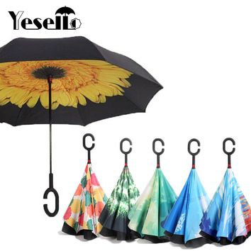 Yesello Reverse Umbrellas Folding Double Layer Inverted C Hand Holder Stand Rain Windproof Rolling Over Umbrella For Women