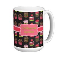 Cute Pink and Lime Green Cupcakes on Brown Classic White Coffee Mug