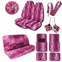 A Complete Animal Print Seat Cover and Accessories Set 2 High Back Seat Covers, Bench Seat Cover, Wheel Cover, 2 Shoulder Pads, 2 Front Floor Mats, 2 Rear Floor Mat, Hanging Dice and Lanyard Key Chain - Leopard Pink - Leopard Pink