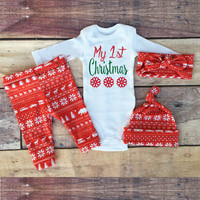 Autumn 2016 New Christmas style baby boy girl Rompers + pants + Hat + headband 4pcs . baby suit newborn baby clothes set  SY164