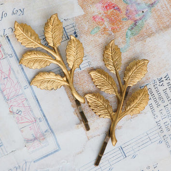 Gold Branch Bobby Pin Set Gold Leaf Woodland Wedding Golden Leaves Fairy Faerie Nature Garden Wedding Bridal