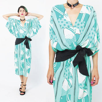 1980s Draped Dress 80s Abstract Print Dress Artsy Turquoise Aqua White Black Bow Sash Dress Batwing Sleeves Comfy Slouchy Dress (M/L/XL)