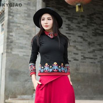 KYQIAO Women ethnic pullover m-4xl plus size hippie designer ethnic long sleeve turtleneck black red embroidery t shirt top