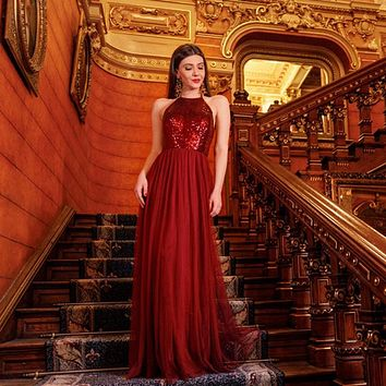 Ever Pretty Brand Burgundy Evening Dresses 2018 Long Backless A Line Halter Formal Party Gowns robe de soiree abiye EP07286
