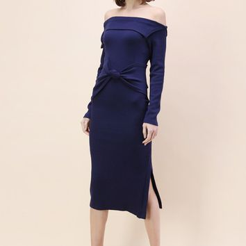 Knot on Fashion's Door Off-shoulder Dress in Navy