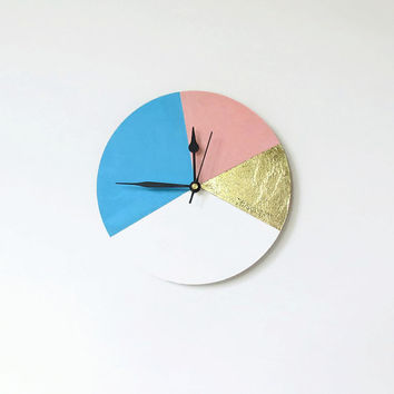 SALE Small Wall Clock, Trending Geometric Design, Gold Leaf, Pastel Clock