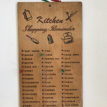Vintage Kitchen Wood Shopping Reminder Kitchen Decor Vintage Wall Decor Wooden Shopping List Plastic Pegs Grocery List