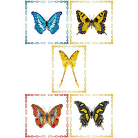 Butterflies - set of 5 Cross Stitch Patterns in PDF - INSTANT DOWNLOAD