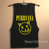 Purrvana Shirt Muscle Tee Tank Top TShirt T Shirt Top Women - size S M L