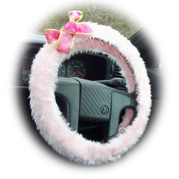 pretty Baby Pink fluffy car steering wheel cover with spotty barbie pink & lime green polka dot Bow