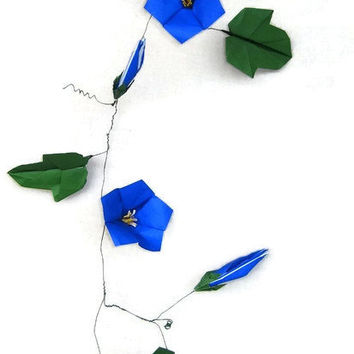 Origami Flower Morning Glory Paper Flower Arrangement Wall Hanging Decor